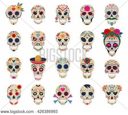 Day Of The Dead Skulls. Dia De Los Muertos Traditional Mexican Sugar Human Head Bones Vector Symbols