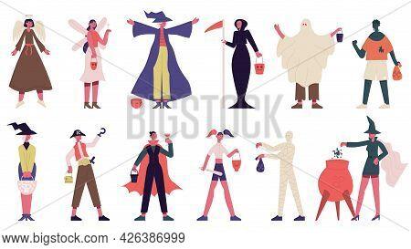 People In Halloween Costumes. Happy Halloween Trick Or Treating Spooky Characters Vector Illustratio