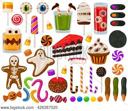 Cartoon Halloween Candies. Halloween Spooky Sweets, Chocolate Candy And Scary Lollipops Vector Illus