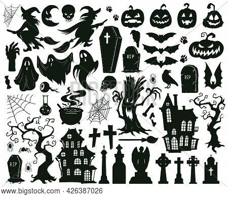 Halloween Spooky Elements. Cartoon Halloween Spooky Evil Silhouettes, Witches, Monsters And Creepy G