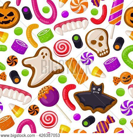 Halloween Seamless Background. Holiday Sweets, Lollipops And Cookies Pattern