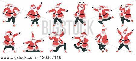 Dancing Santa Claus. Funny Cartoon Santa Claus Dancing And Jumping Characters Vector Illustration Se