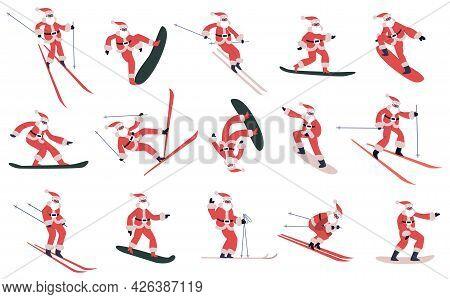 Snowboarding Santa Claus. Skiing, Snowboarding Sliding Santa Mascots, Winter Sports Santa Characters