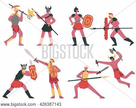 Fighting Roman Gladiators. Warlike Armed Greek Warriors, Roman Battle Gladiators Cartoon Vector Illu