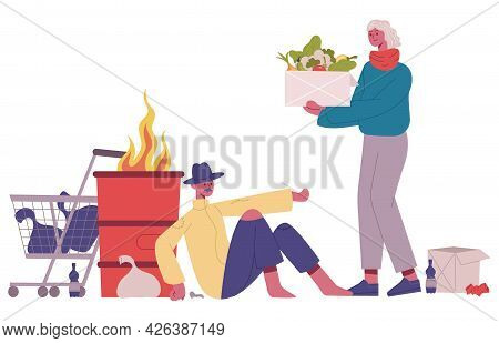 Homeless People Donation. Volunteer Assistance To Homeless, Donate Food And Clothes Cartoon Isolated
