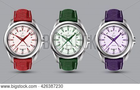 Realistic Clock Watch Silver Red Green Purple Strap Collection On Grey Design Classic Luxury Vector
