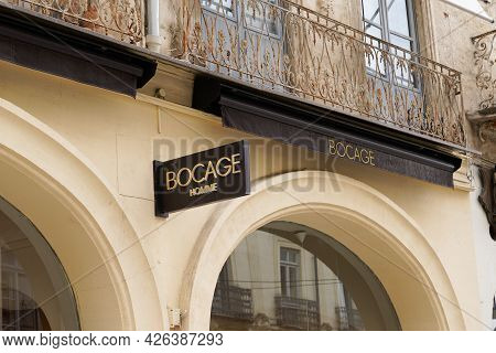 Toulouse , Ocitanie France  - 06 30 2021 : Bocage Logo Brand And Text Sign Front Of Wall Boutique Fr