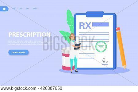 Rx Medical Prescription. The Doctor Prescribes Prescription Drugs For The Patient.