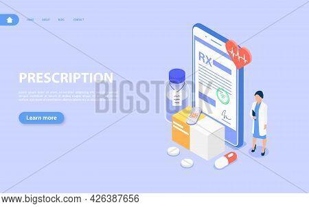 Rx Medical Prescription. The Doctor Sends The Patient Prescription To The Smartphone.