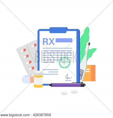 Rx Medical Prescription With Medicines On A White Background.