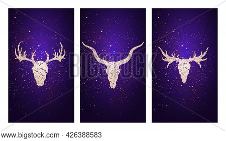 Vector Set Of Three Illustrations With Silhouettes Skulls Deer, Antelope And Moose Against The Backg