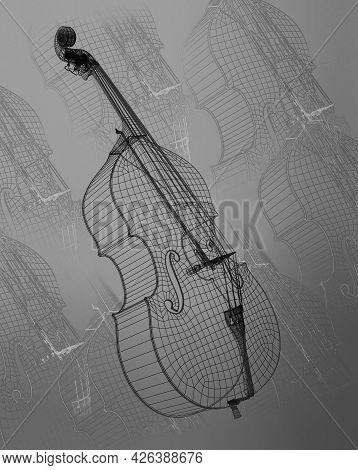 Classic Violoncello. Outline Classic Cello  Isolated On Gray Background. 3d Illustration