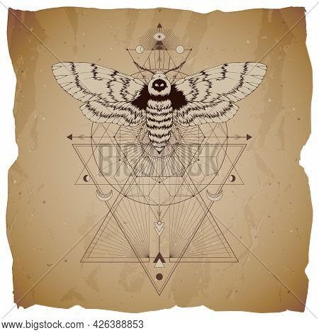 Vector Illustration With Hand Drawn Dead Head Moth And Sacred Geometric Symbol On Vintage Paper Back