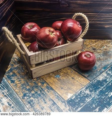 A Beige Wooden Box With Rope Handles Is Filled With Ripe Apples. One Red Fruit With A Shiny Crust Li