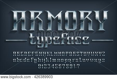 Armory Alphabet Font. Scratched Metal Vintage Letters, Numbers And Symbols. Uppercase And Lowercase.