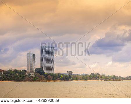 High  Building In Pattaya  Beach  And Beautiful Blue Sea.