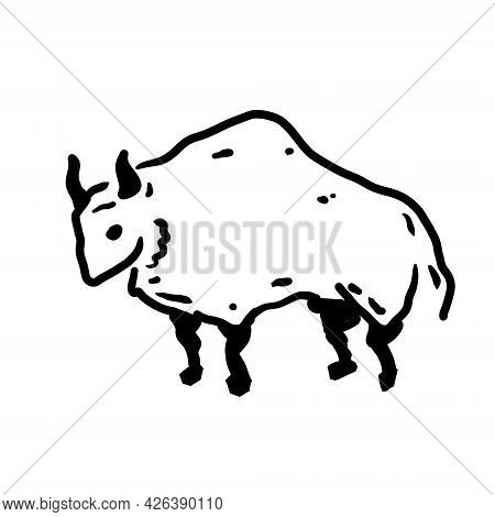 Rock Art. Drawing Of A Bull Or Ox. Primitive Tribal Cartoon. Black And White Doodle