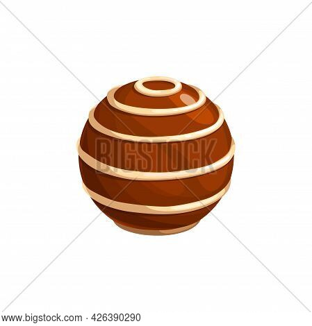 Chocolate Candy, Sweet Dessert Or Truffle Praline Confection, Vector Isolated Icon. Chocolate Box Ca