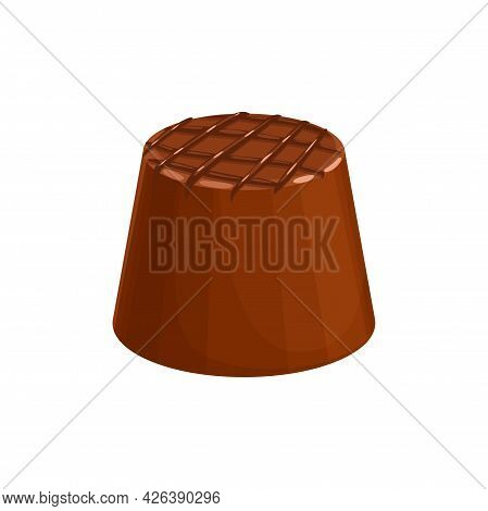 Candy, Chocolate Dessert, Sweet Food, Vector Isolated Icon. Milk Chocolate Snack Treat, Round Truffl
