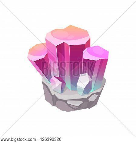 Crystal Gem, Gemstone Jewel, Mineral Stone Quartz, Vector Isolated Icon. Precious Red Purple Diamond