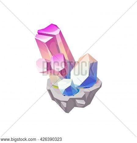 Crystal Gem Or Gemstone, Quartz Stone Rock And Jewel Diamond, Vector Isolated Icon. Jewelry Mineral,