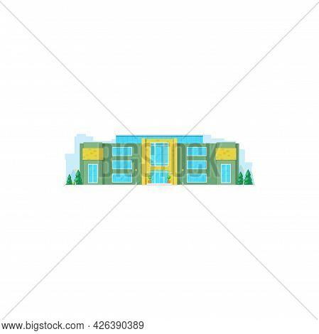 School Building Flat Icon, College House, High Education Vector Isolated University Or Academy Campu