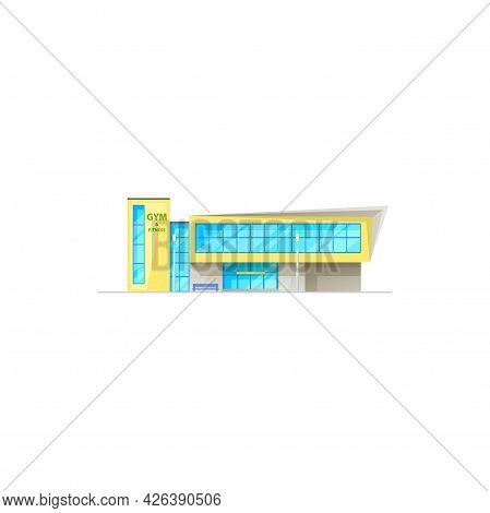Gym Or Fitness Club And Sport Center Building Icon, Vector Architecture Facade. Bodybuilding Athleti