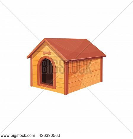 Doghouse Isolated Wooden Dog House Realistic Icon. Vector Wooden Home Of Dog With Roof And Bone Abov