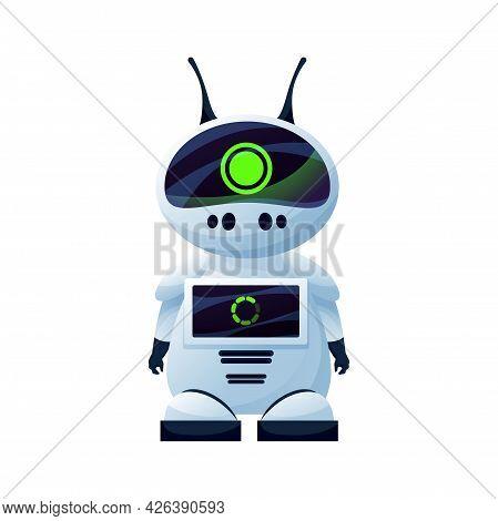 Digital Cartoon Robot With Antennas On Head Isolated Realistic Kids Toy. Vector Plastic Hi-tech Char