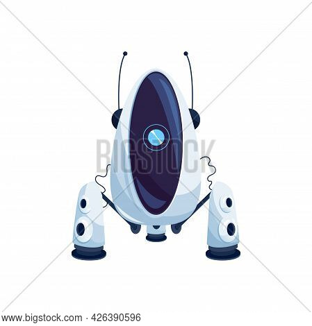 Robot With Suction Isolated Sci-fi White Android, Sophisticated Machine With Antennas And Camera. Ve