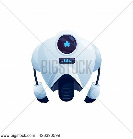 Robot With Big Camera Display On Head, On One Wheel Isolated Futuristic Character. Vector Electronic