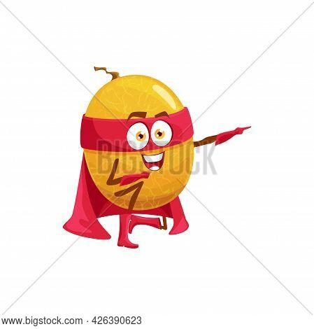 Melon Superhero Fruit Cartoon Character, Vector Food In Super Hero Costume And Mask. Happy Melon Fru
