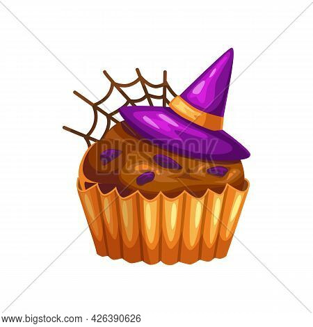 Homemade Halloween Cupcake With Witches Hat And Spider Web Isolated Realistic Icon. Vector Muffin Pa