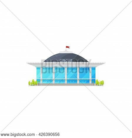 Big Top Tent Circus Isolated Cartoon Building Icon. Vector Chapiteau Circus With Red Flag On Top, Am