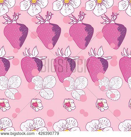 Vector Pastel Yellow Background Garden Strawberries, Berry Flowers, Berries Fruits. Seamless Pattern