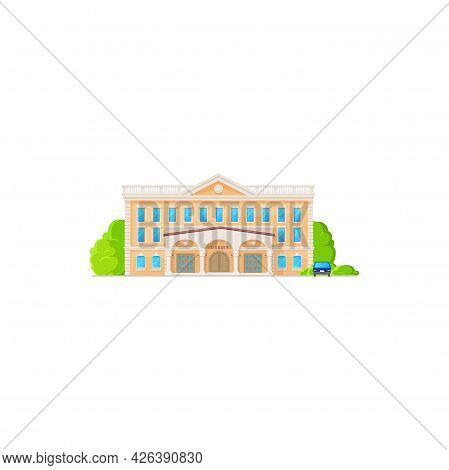 Library Building Icon Of Exterior, Flat Cartoon Vector Architecture, Isolated. Public Library Of Sch