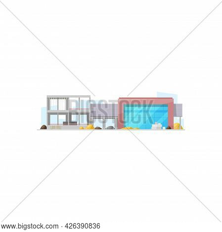 Supermarket City Building Isolated Fast Food Grocery Store. Vector Modern Mall Construction, Food Or