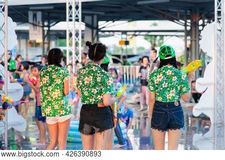 Women And Waters Gun In Songkran Festival