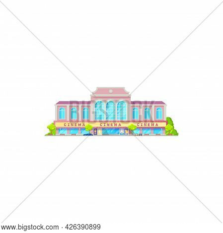 Movie Theater Or Cinema Theatre Flat Building, Vector Marquee With Now Showing Sign. City Cinema Or
