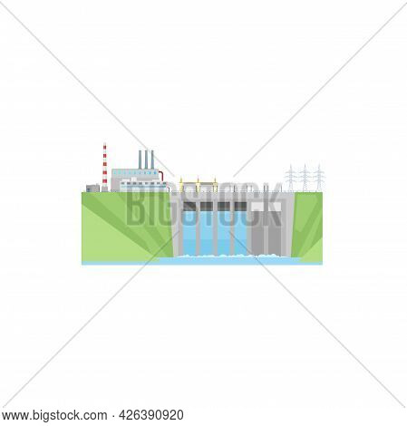 Power Plant, Hydroelectric Water Energy Station, Vector Hydro Turbine Dam. Electric Power Plant And
