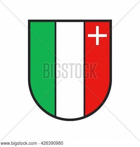 Switzerland Canton Flag, Swiss City Heraldic Crest Of Neuchatel Sate City, Vector Coat Of Arms. Swis