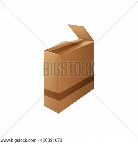 Box Package With Adhesive Tape Isolated Open Box Icon. Vector Delivery Packaging With Sticky Tape. C