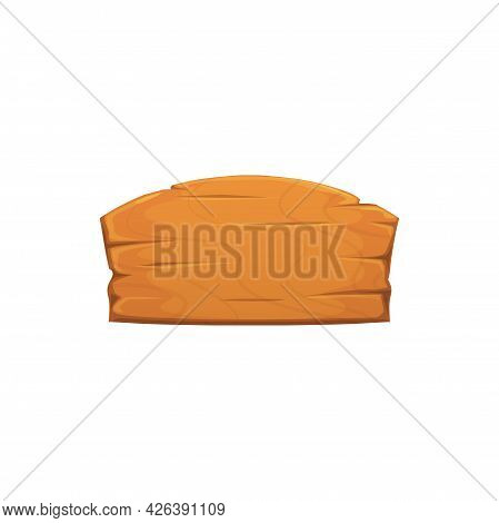 Plywood Announcement Board Isolated Empty Wooden Signboard. Vector Blank Brown Guidepost Of Wood, In