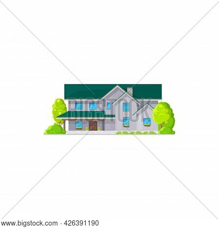 Modern House With Windows, Flowers In Pots At Sills Isolated Villa Icon. Vector Real Estate Building