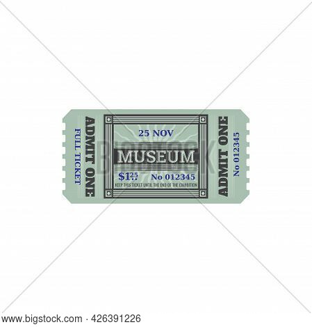 Random Ticket To Museum Isolated Retro Coupon Paper Card. Vector Voucher Access To History Museum, S