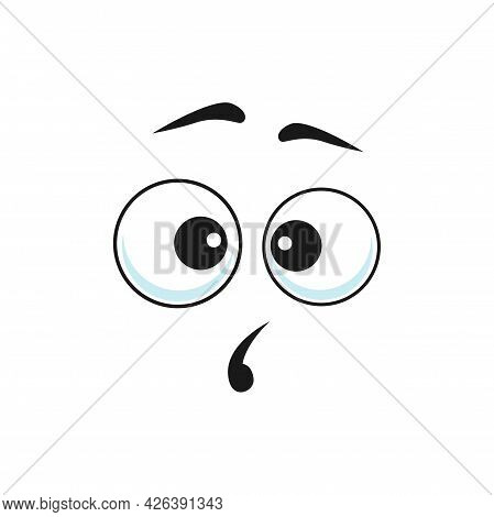 Surprised Cartoon Face Vector Curious Funny Emoji, Astonished Facial Expression With Open Mouth And