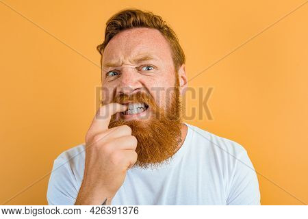 Doubter Man With Beard, Tattoo And White T-shirt