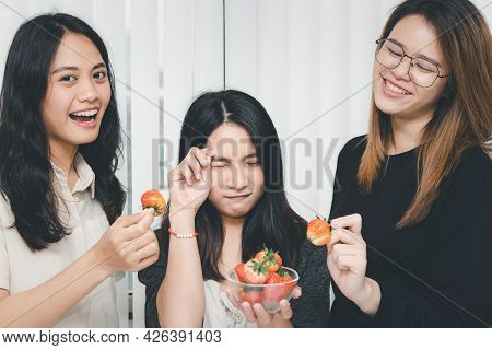 Women Eat Strawberry Red Berry Fruit Sweet Juicy