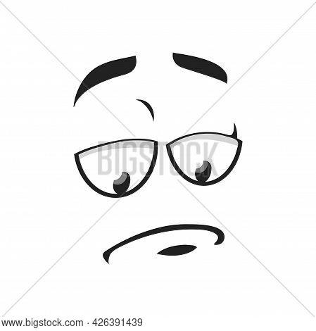 Cartoon Sad Face Vector Icon, Unhappy Or Upset Emoji, Funny Facial Expression With Eyes Look Down An