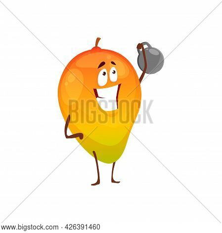 Cartoon Mango Fruit Sportsman Vector Icon, Funny Character Workout With Dumbbell Doing Sport Exercis